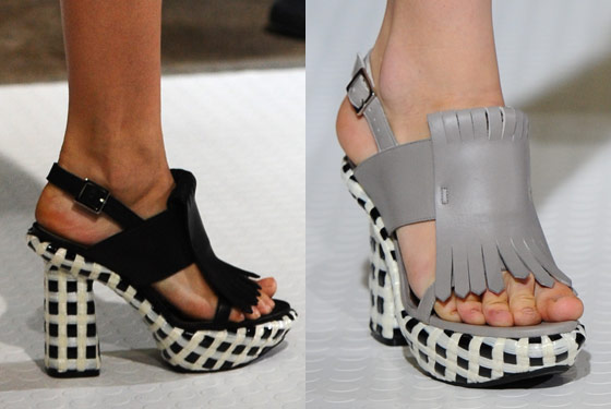 Checkered heels at Marni.