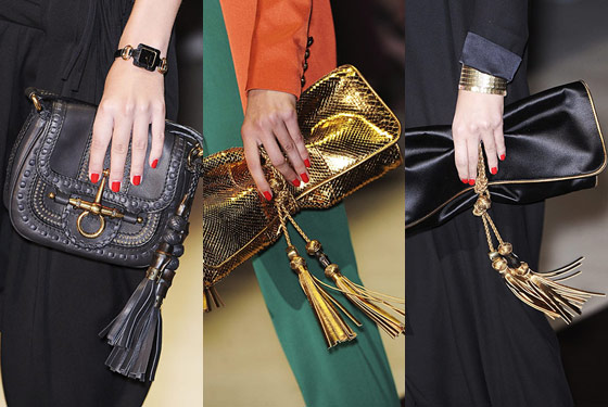 Tasseled clutches at Gucci.