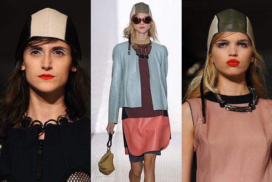 Swimmer/aviator caps (and a bag to match) at Marni.