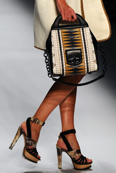 Ethnic-print purse at Etro.