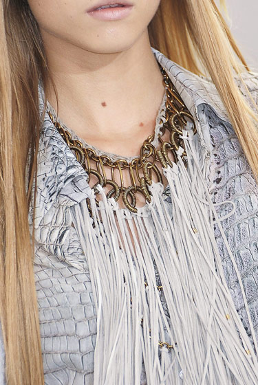 Fringed necklace at Roberto Cavalli.