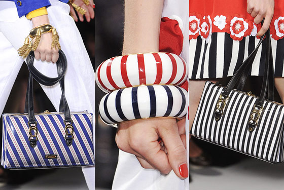 Striped bags and bangles at Moschino.
