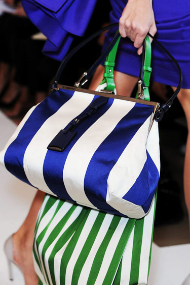 The candy-striped bags at Jil Sander.