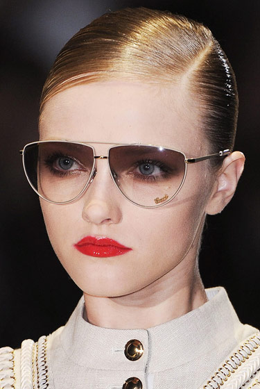 Thin-rimmed sunglasses at Gucci.