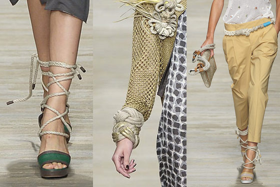 Rope belts, bags, bracelets and shoes at Iceberg.