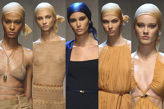 Elegant head wraps at Salvatore Ferragamo.