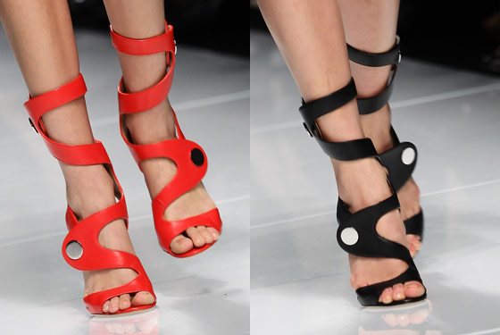 Architectural heels at Versace.