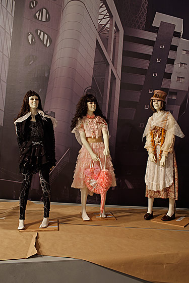 Lolita ensembles (left, center) and Mori Girl (right).