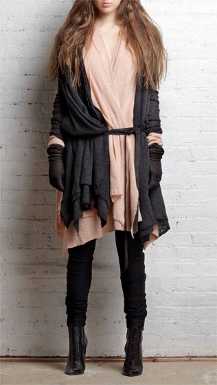 Five layer asymmetric cardigan in charcoal alpaca, $395; five layer asymmetric cardigan in dusty pink, $395; zip pocket slouch legging in black wool ponte, $295.