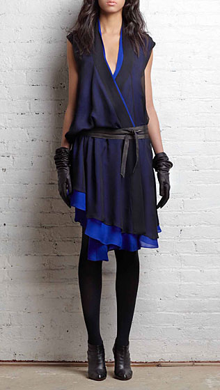 Double layer Godet dress in cobalt silk, $595.