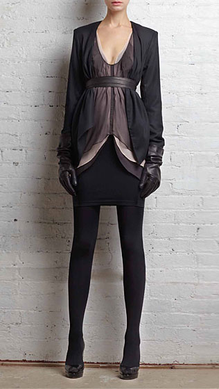 Collarless drape blazer in black wool crepe, $395; three layer draped tank in gray silk, $295; knit mini skirt in black wool ponte, $290.