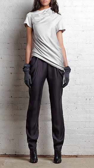 Pleat black top in silver pleated jersey; draped pocket pant in pewter cupro, $345.