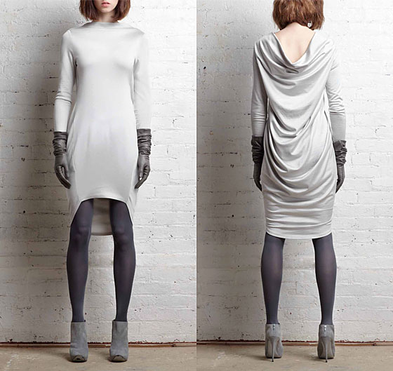 Long-sleeve draped-pack dress in silver plaited jersey, $475.
