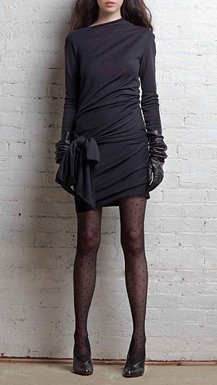 Long-sleeve draped dress with wrap ties in midnight wool jersey, $475.