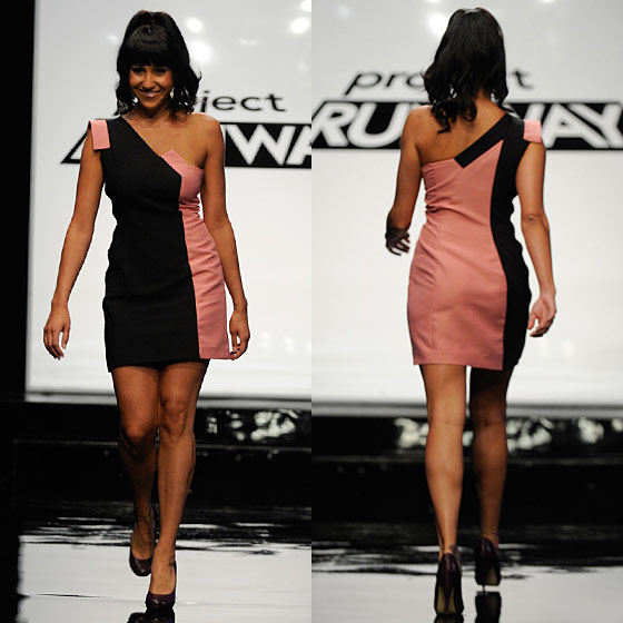 You could almost see Mondo's little heart flutter every time a button was dropped in his bowl during the public presentation, which he won, bless his soul. On the runway, Nina praised his dress's symmetry and Michael called it hot, but then everyone collectively tore into the <em>Jersey Shore</em>–meets–<i>The Flintstones</i> hair styling. (Nice one, Garnier Fructis.)
