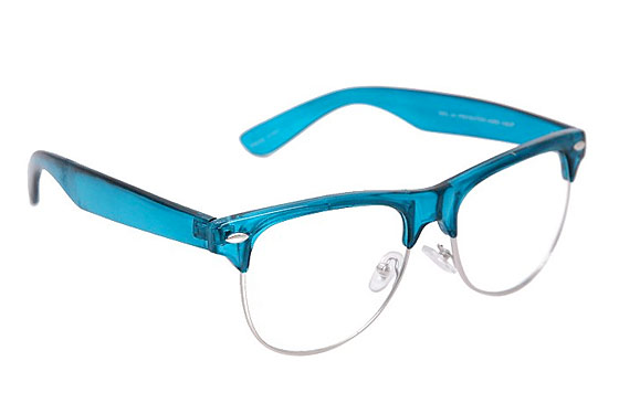 "Hot Topic Blue Top Clear Lens Glasses, $9.99 <a href=""http://www.hottopic.com/hottopic/Accessories/Sunglasses/Blue-Top-Clear-Lens-Glasses-246466.jsp"">online</a>."