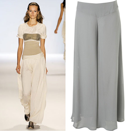 "Topshop wide-leg trousers, $80 <a href=""http://us.topshop.com/webapp/wcs/stores/servlet/ProductDisplay?beginIndex=0&viewAllFlag=&catalogId=33060&storeId=13052&productId=1714026&langId=-1&categoryId=&searchTerm=wide-leg trousers&pageSize=20"">online</a>."