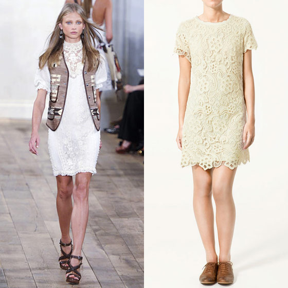"Zara short-sleeved lace dress, $129 <a href=""http://www.zara.com/webapp/wcs/stores/servlet/product/11719/en/zara-sales/11017/13992/SHORT-SLEEVED%2BLACE%2BDRESS"">online</a>."
