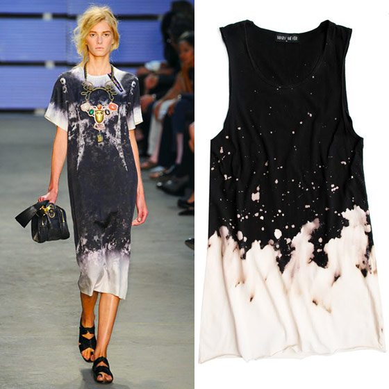 "Mary Meyer bleach dress, $95 <a href=""http://3.bp.blogspot.com/_4c8ipv24LdU/TJPV3mQXfcI/AAAAAAAAItY/r_G6cFsgI4w/s1600/MM_BLEACH_DRESS.jpg"">online</a>."