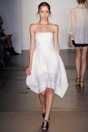 Indie cult favorite Rachel Comey does her version of the ubiquitous little white dress. This one is wearable and is likely to be more on the affordable side than some of the big names' versions.