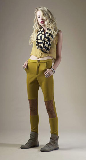 Silk cropped tank blouse, $187; stripe spiked scarf, $120; leeather knee panel riding pant, $218.