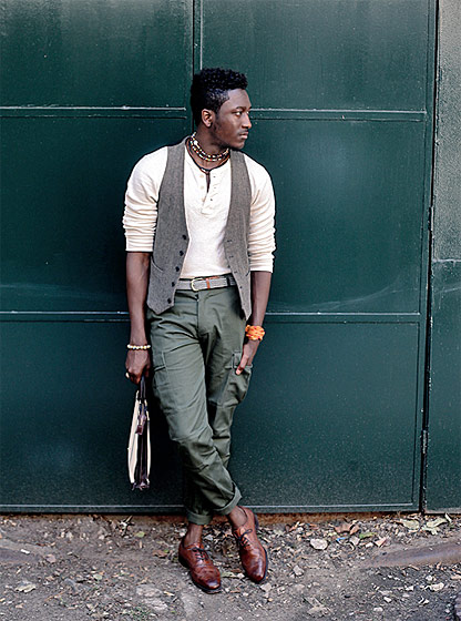 "Joshua Kissi, shot in New York for <a href=""http://streetetiquette.com/2010/10/13/fall-etiquette-the-cargo-pant/"">Street  Etiquette</a>."