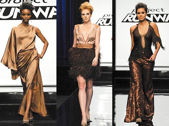 "Surprisingly, we didn't hate the colors. They suggested deliciousness, like dulce de leche or pink Champagne. But, as Michael Kors noted, a color scheme is not a collection and, of the three, only the draped dress had an ""effortless"" beauty. The fringe top looked like something a stripper would wear when she wanted to class it up (Heidi loved it) and the fit of the feathered dress was so unflattering it could have been a throw rug wrapped around the model's waist. Nina makes an uncharacteristic sad face when criticizing his designs (seriously, what do they know that we don't?), but ultimately, he was lucky to have made it this far."