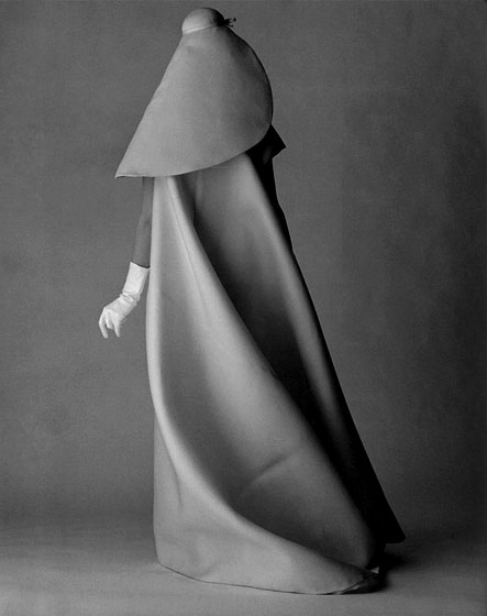 David Bailey shot this beautifully draped Balenciaga gown for <em>Vogue</em>'s 1967 July issue.