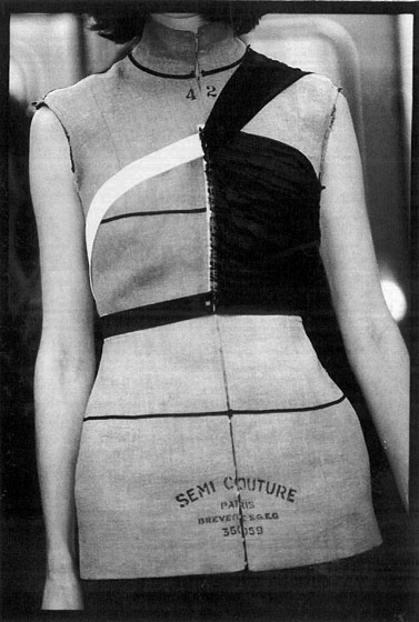 From Martin Margiela's fall/winter 1998 collection, this bodice shows how a deconstructionist would construct a minimalist garment.
