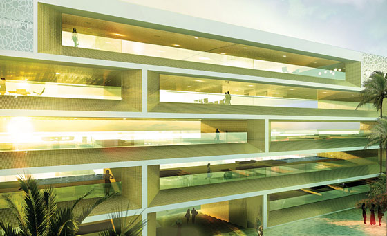 The futuristic buildings resemble modern shelving. Perfect for storing spendy residents, while allowing them ample sunlight for tanning that never has to stop.
