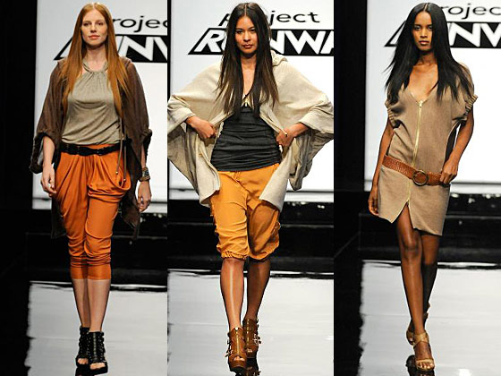 "Those pumpkin-spice poopy pants (left) were dreadful, sure, but that flowy Lagenlook top (center) was cool, if a little too big. The judges were torn too, though they all agreed Michael C. belonged in the bottom. Heidi criticized the designs' lack of athleticism and the Thanksgiving-themed colors, but guest judge Norma Kamali called the cropped cargos ""cute."" Nina blamed the styling and too fancy flat-ironed hair, and MK questioned MC's taste level (again). To which we say: Remember Casanova?"
