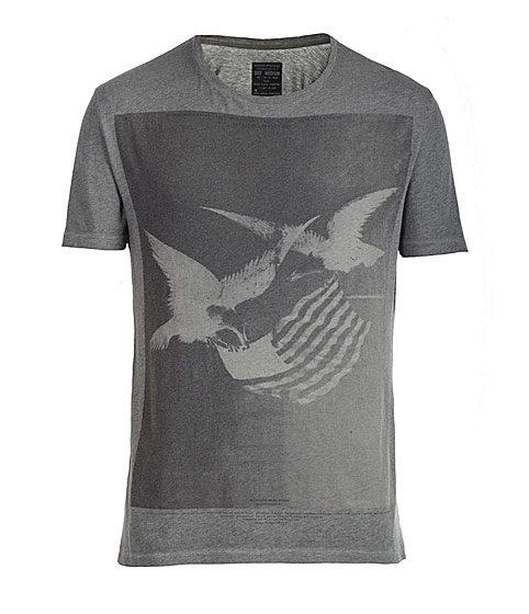 For the guys, a T-shirt with eagles and the American flag, in shades of gray; patriotic, yet not gushing. $70.