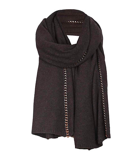 This chain-trimmed scarf is also a potential defensive weapon. $70.