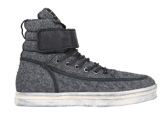 Your winter sneaker: a fuzzy flannel high-top, $130.