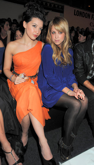 Part of the loyals: Daisy Lowe and Peaches Geldof at an Issa show during London Fashion Week.
