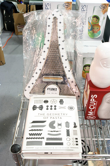 Eiffel Tower grater, $25.95; Geometry of Pasta book, $24.95.