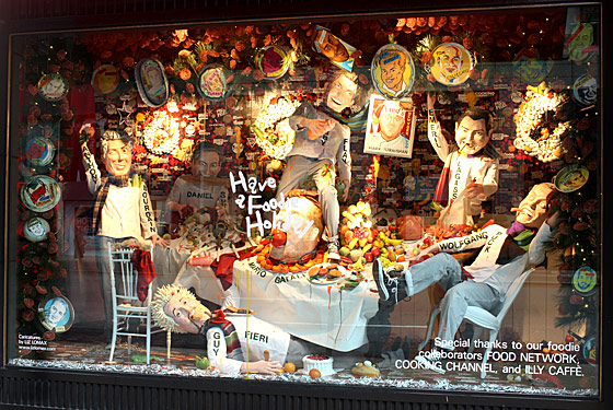 From Mario Batali to their own Mark Strausman from Fred's, Barneys honors famous male chefs in this menswear window.
