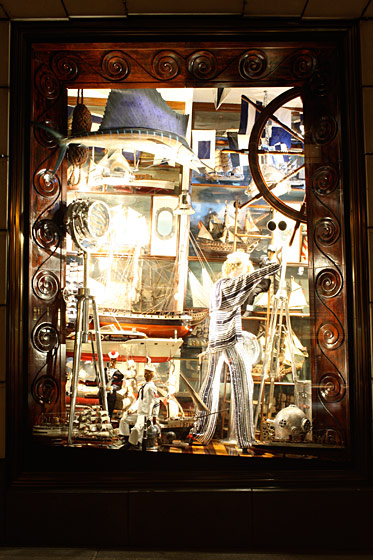 "Bergdorf likes to feature one window every year that is ""over-stuffed."" This year, that honor went to this nautically-decorated window."