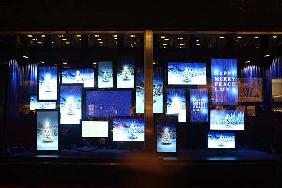 Each of the almost 100 screens play animations of a winter landscape.