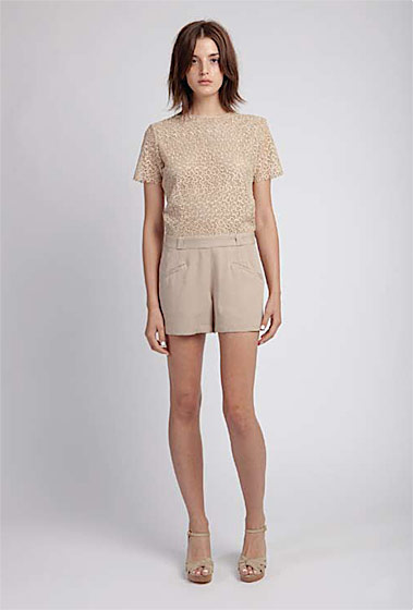 Lace playsuit, $480; knotted wedge, $245.