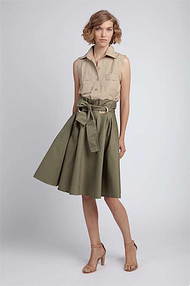 Travel shirt, $110; Paperbag skirt, $205; wide-strapped sandal, $245.