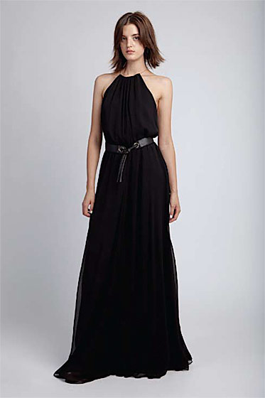 Chain halter maxi dress, $525; skinny tie belt, $95.