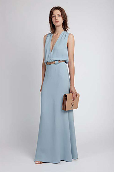 Draped maxi dress, $610; skinny belt with pin buckle, $80; Janice shoulder bag, $365.