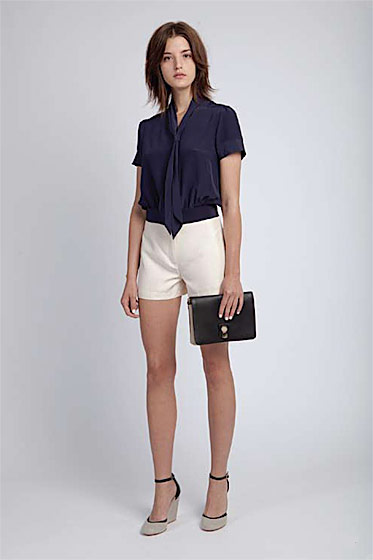 Sailor blouse, $170; high-waist short, $195; Brill clutch, $290; covered wedge, $215.