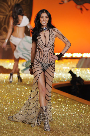 Wen walked the show for the second year in a row as the only Asian model. She wore a completely sheer dress, we'd suppose you'd call it, with a thong underneath.