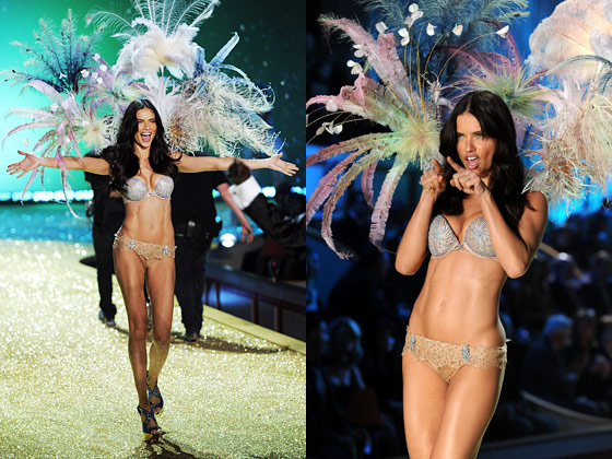 Adriana, who is great at making extra movements on the runway with her arms and hands to really bring those underpants alive for the cameras, also made an exit in the $2 million dollar diamond bra.