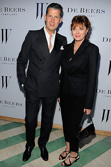 Stefano Tonchi and Susan Sarandon at the <i>W</i> Magazine and De Beers party.