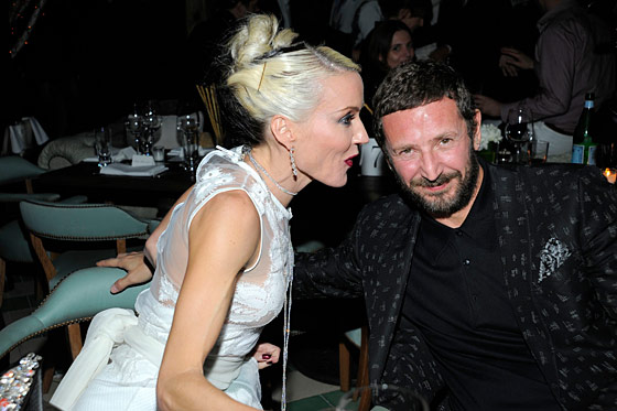 Daphne Guinness and YSL's Stefano Pilati at the <i>W</i> Magazine and De Beers party.
