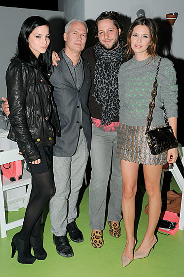 Leigh Lezark, P.S. 1's Klaus Biesenbach, Derek Blasberg, and Dasha Zhukova at the LVMH–Fendi Art Basel dinner.