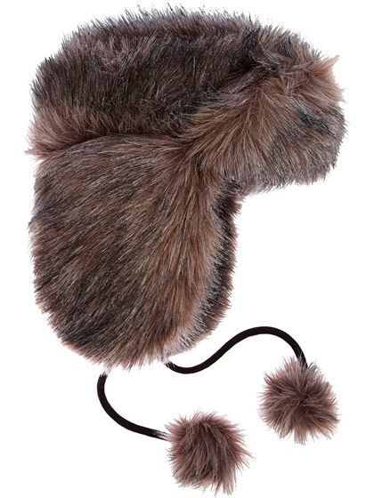 "Jacqueline Lamont's trapper hat with pom-pom ties, $210 at <a href=""http://www.barneys.com/Amelia/500770060,default,pd.html"">Barneys online</a>."